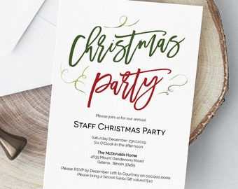 Christmas Party Invitation, Printable Invitation Template, Instant Download, Edit with TEMPLETT WLP496
