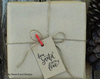 Christmas Tags, Christmas Gift Tags, Printable Christmas Tags - From Santa with Love Tags, Instant Download, Printable Christmas Favor Tags