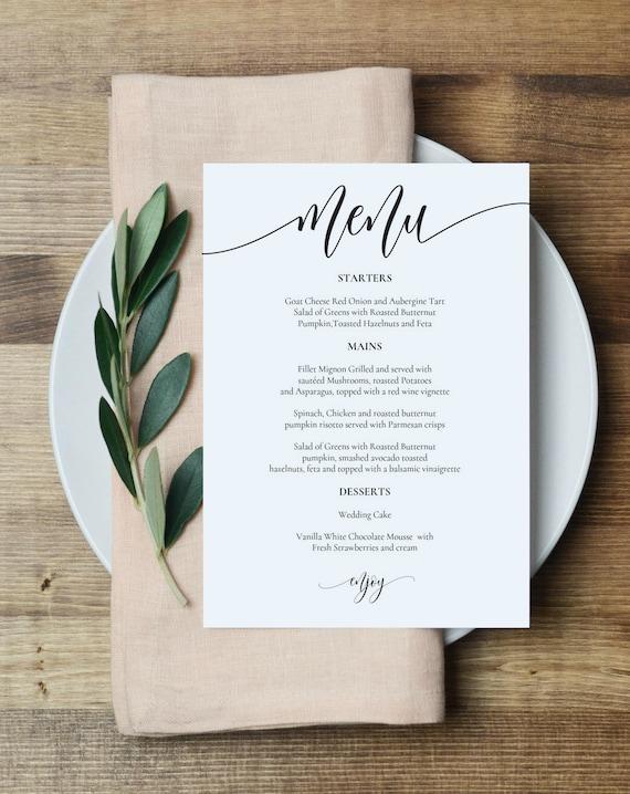 Wedding menu template printable menu card 5x7 wedding etsy image 0 maxwellsz