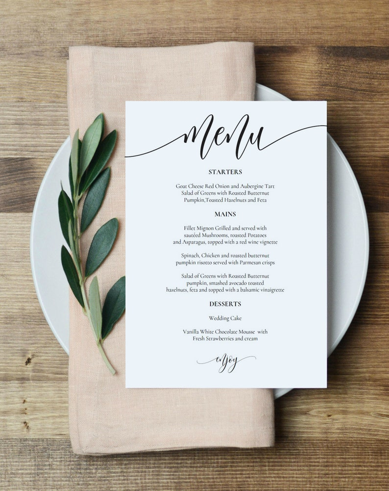 graphic relating to Printable Menu Card called Marriage ceremony Menu Template, Printable Menu Card, 5x7\