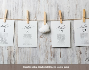 Wedding Seating Chart Template, Table Seating Chart Printable, Seating Cards, Instant Download PDF, DIY Wedding Reception Seating, WLP371