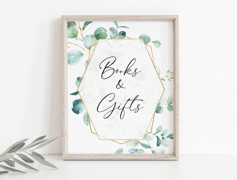 Printable Books and Gifts Sign Cards and Gifts Sign Greenery Cards Sign Template Shower Sign Template TEMPLETT WLP-EGE 1927