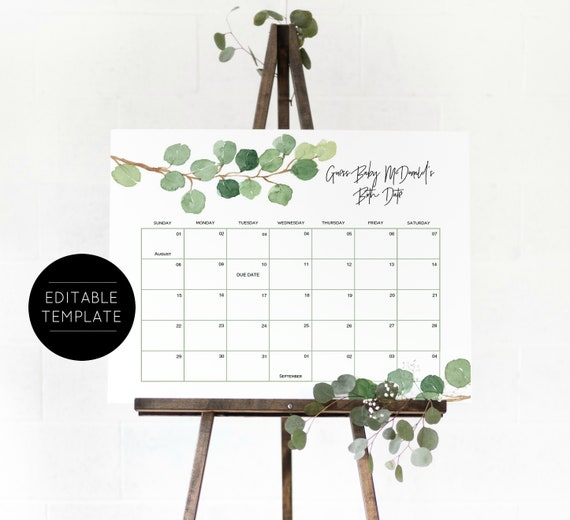 Baby Due Date Calendar Game Baby Shower Game Guess Etsy