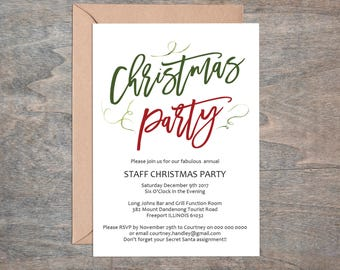 Christmas Party Invitation, Printable Invitation Template, Instant Download Editable PDF WLP496