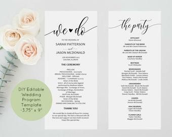 Calligraphy Wedding Program Template, Printable Wedding Program, Instant Download, Edit Yourself, Ceremony Program, WLP842
