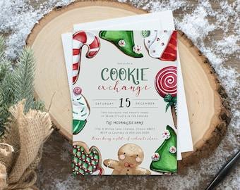 Christmas Cookie Exchange Invitation, Christmas Cookie Party Invitation, Cookie Party Invitation, Christmas Invitation,  TEMPLETT, WLP4483