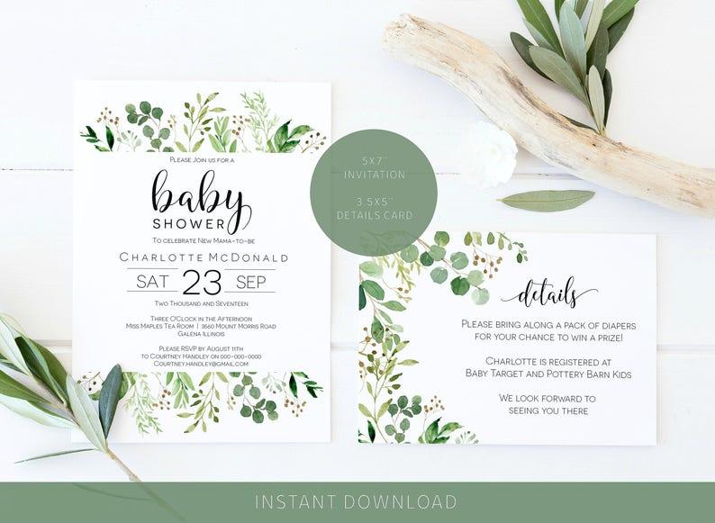 31cf6cbda9f3 Greenery Baby Shower Invitation Printable Green Leaves Baby