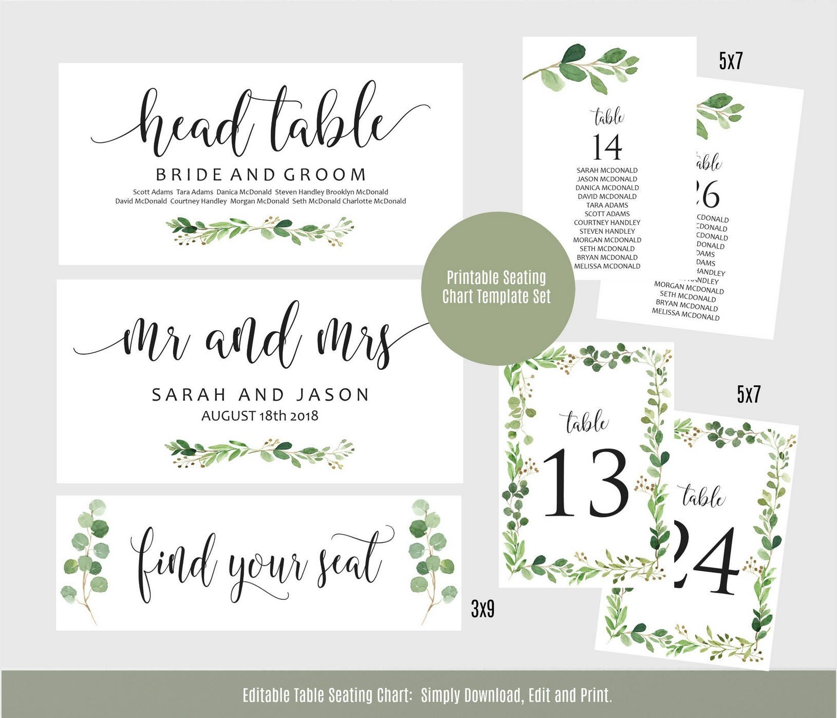 Greenery Wedding Seating Chart Table Seating Chart Template Etsy