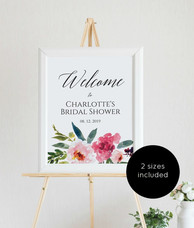 Greenery Pink Welcome Sign Shower Poster Template Instant Download Edit Yourself WLP884