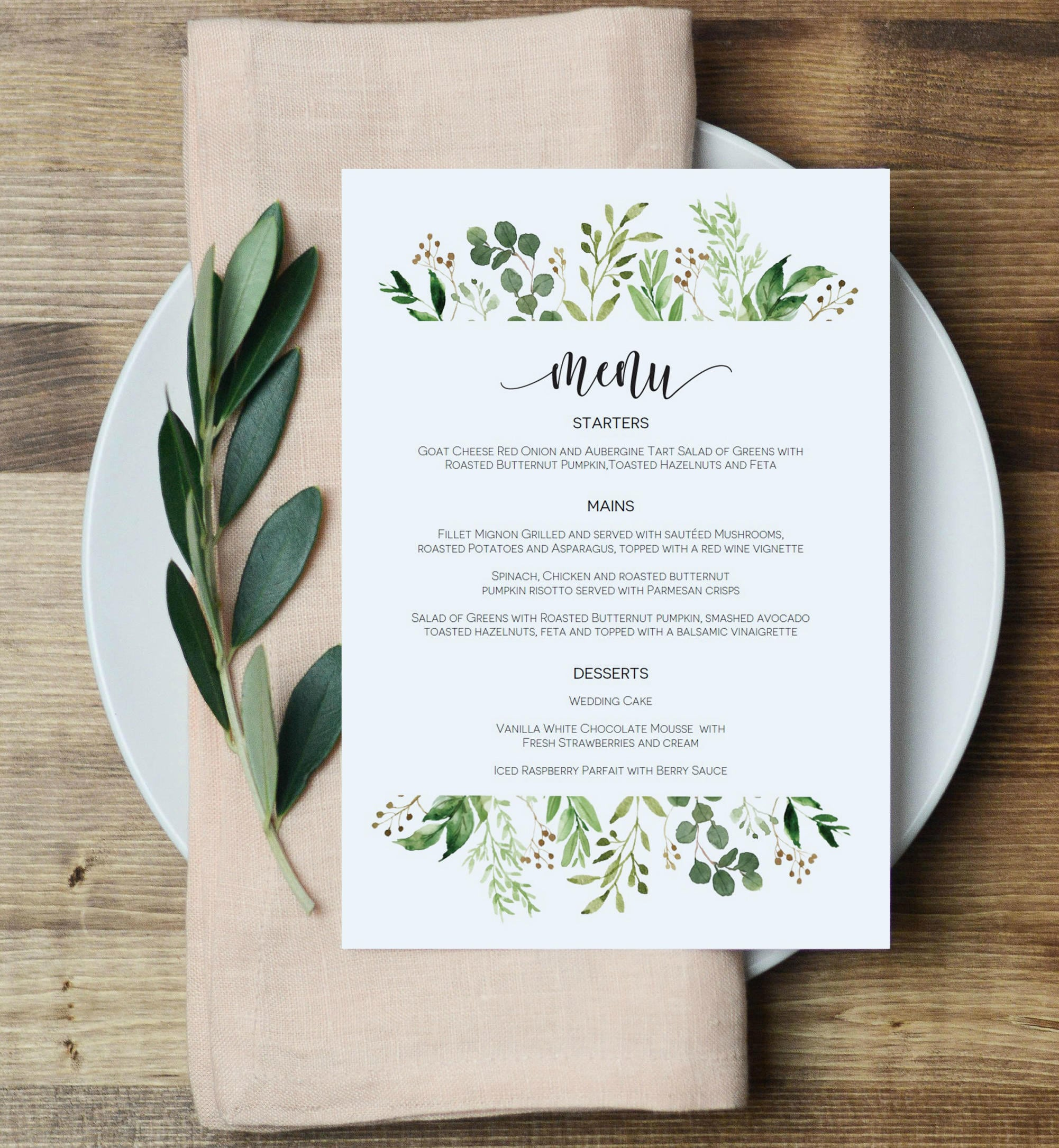 greenery menu card template 5x7 eucalyptus menu printable. Black Bedroom Furniture Sets. Home Design Ideas