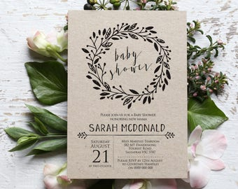 Rustic Baby Shower Invitation Template, Editable Wreath Printable Gender Neutral, Rustic Baby Shower Invite, Edit with TEMPLETT WLP-BLA 001