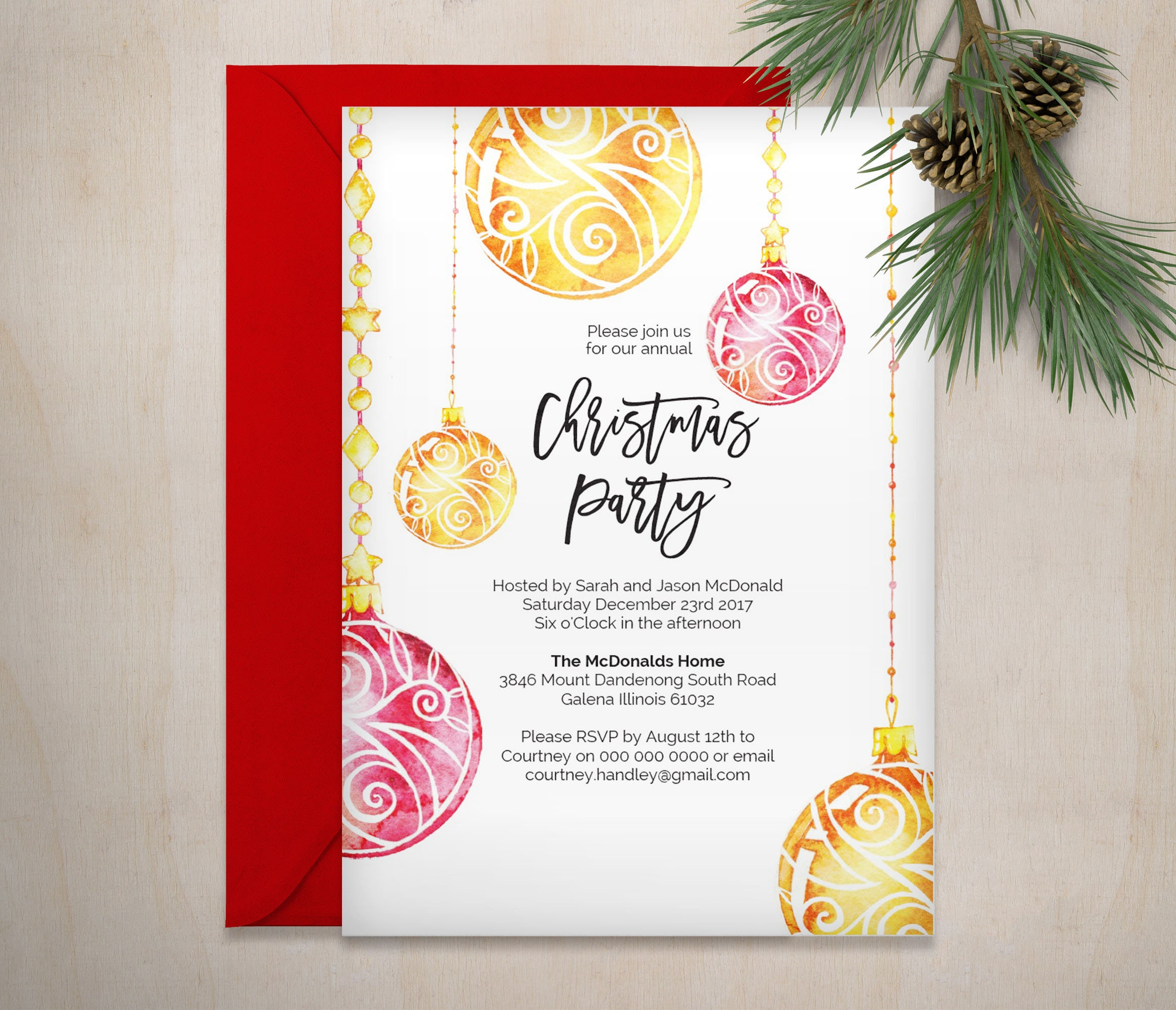 Christmas Invitation Printable Christmas Bauble Invitation | Etsy