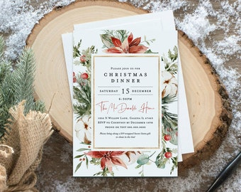 Christmas Party Invitation, Rustic Christmas House Party Invitation Template, Holiday Party Invitation, Edit with TEMPLETT, WLP4481