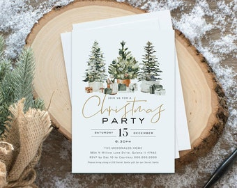 Christmas Invitation, Christmas Trees Party Invitation, Holiday Trees Invitation, Instant Download, Edit with TEMPLETT, WLP4490