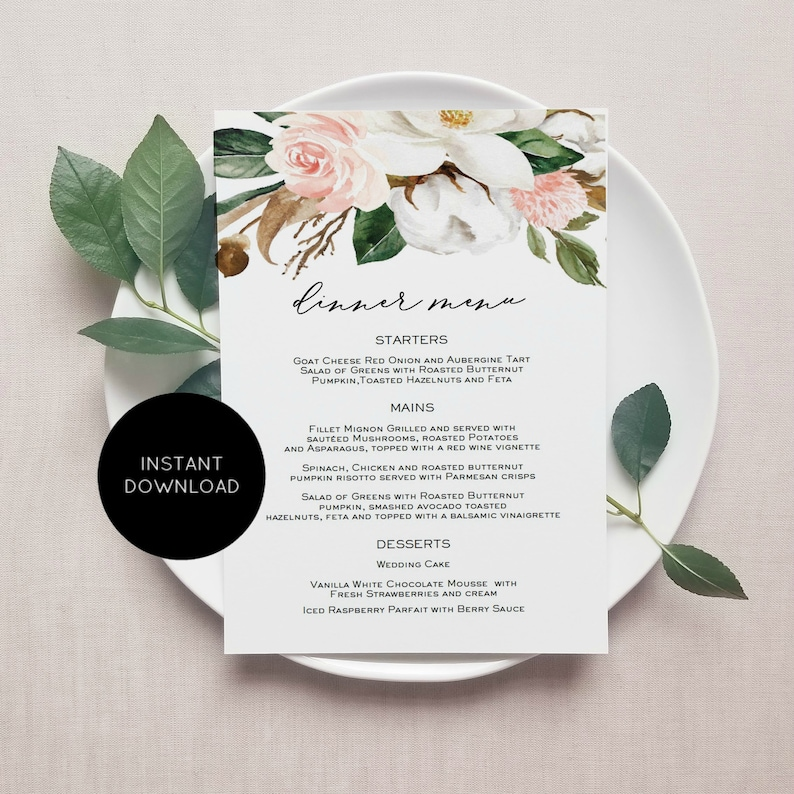 photo relating to Printable Menu Card called Printable Menu Card, Blush Magnolia Menu Template, 5x7, Fast Obtain, Edit On your own PDF, WLP-PMA 1379