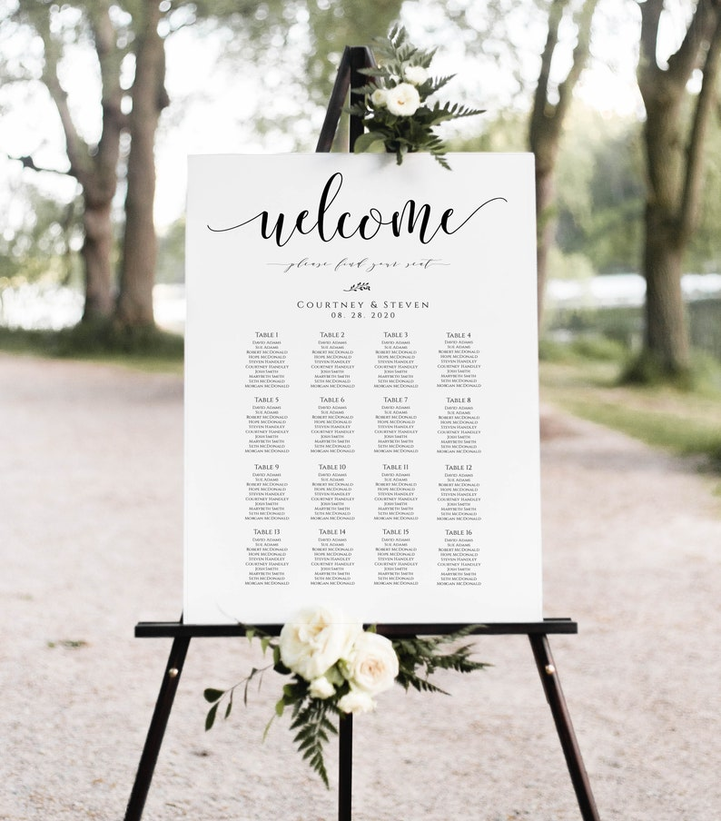 Wedding Seating Chart Template Seating Chart Sign Wedding image 0