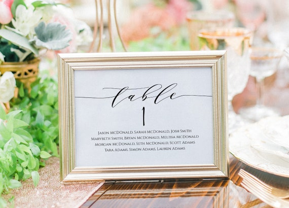 WLP-SCR 1189 Table Seating Chart Printable Calligraphy Seating Chart Template Wedding Seating Cards,Edit with TEMPLETT