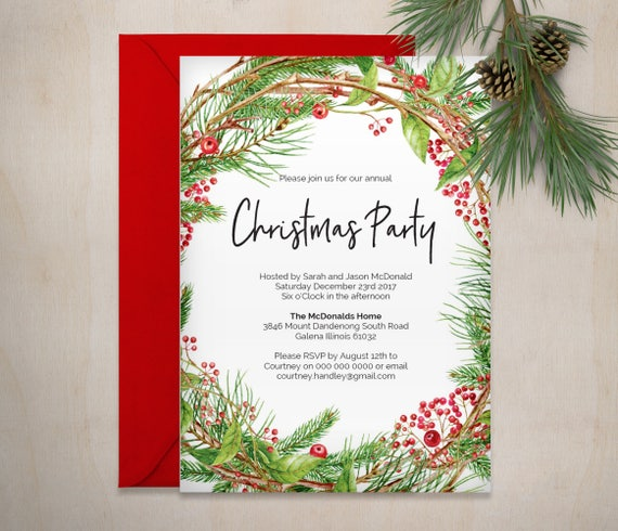 Printable Christmas Invitation Template Christmas Wreath Etsy