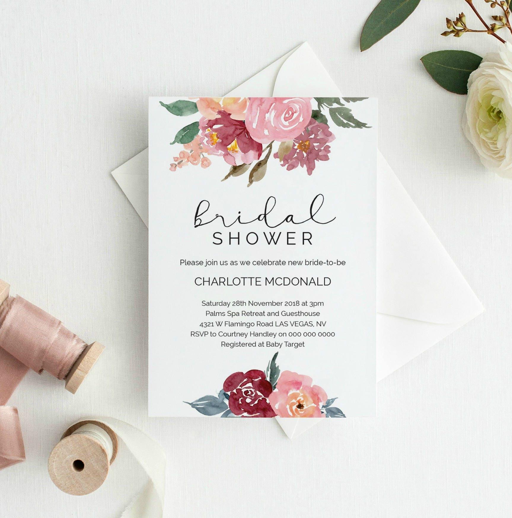 Bridal Shower Invitation Printable Burgandy Floral Invitation | Etsy