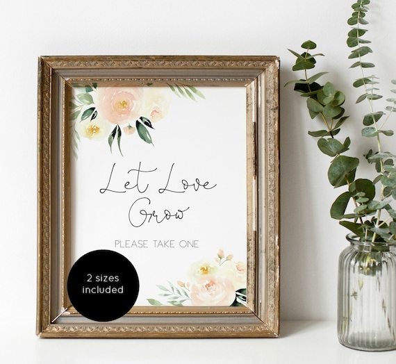 Let Love Grow Sign Favor Sign Template Blush Greenery Favor Etsy