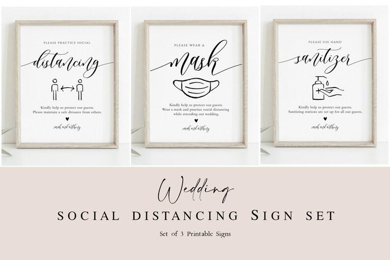 Script Wear a Mask Sign Wedding Printable Signs TEMPLETT Hand Sanitizer Sign WLP-SOU 3495 Social Distance Wedding Signs