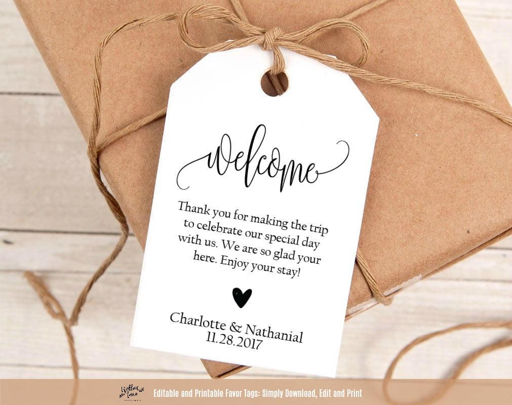 Welcome Wedding Tags Printable Wedding Welcome Favor Tag