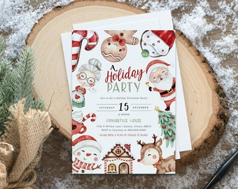 Christmas Party Invitation, Kids Christmas House Party Invitation Template, Holiday Party Invitation, Edit with TEMPLETT, WLP4475