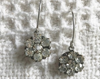 1920s Antique Rhinestone Button Earrings-Button Jewelry-Vintage Style-Sterling Silver-Vintage Jewelry-Unique Rhinestone Earrings-Upcycled