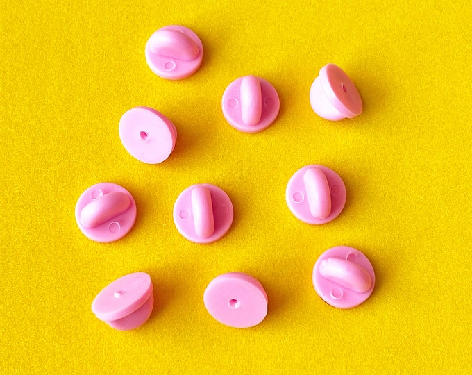 Pink Rubber Pin Backs [10]