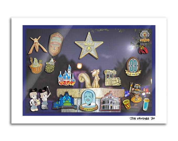 Theme Park Pins 13x19 Print