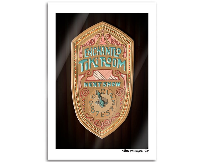 Enchanted Tiki Clock 19x13 Print