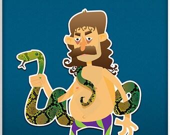 "Jake ""The Snake"" Roberts Print - WWF(E) Superstar Illustration"