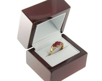 20ae951ac508 Deluxe Cherry Rosewood Ring Box Display Wood Wooden Jewelry Gift Box