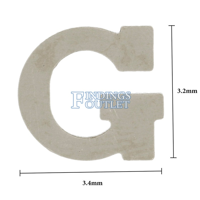 14k White Gold G Block Initial Letter Nameplate Personalized Jewelry