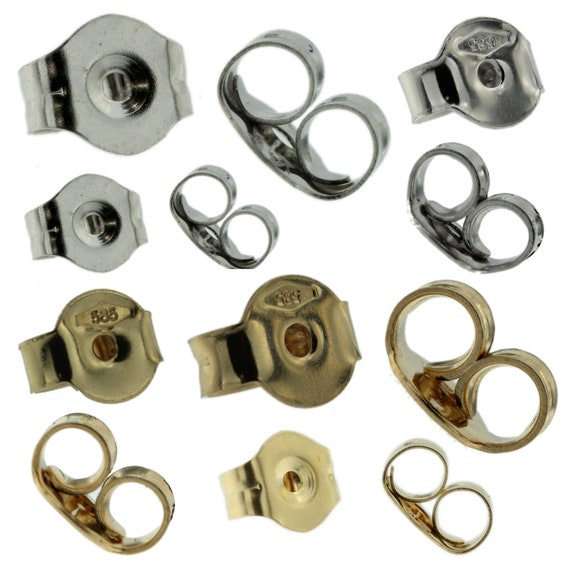 10K Solid White /& Yellow Gold Replacement Single Push Back for Stud Earrings