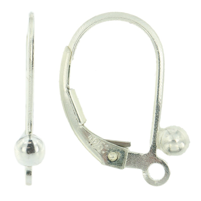 Sterling Silver 925 Leverback Earring Mounting Dangling Setting Loop /& 3mm Ball