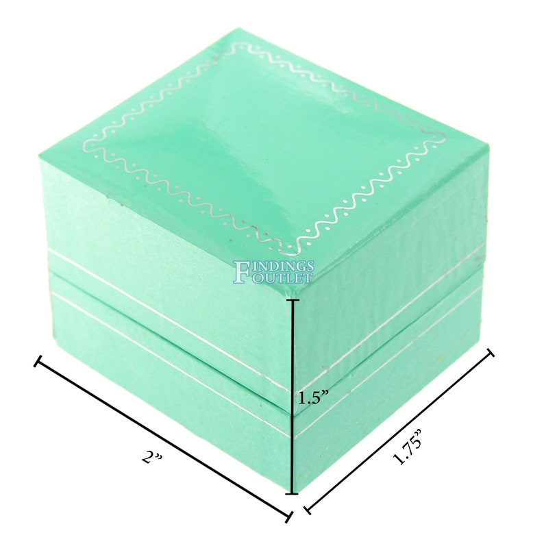 Teal Blue Faux Leather Ring Box Display Jewelry Gift Boxes Engagement 1 Dozen