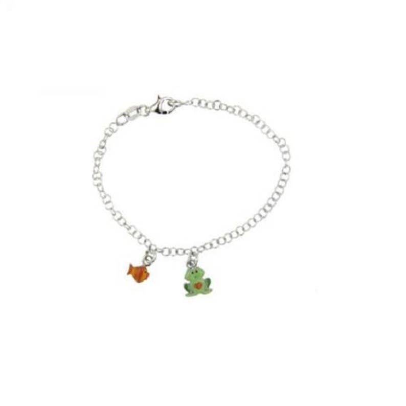 Sterling Silver Baby Charm Bracelet Frog And Fish Enamel Charms Dangle Gift
