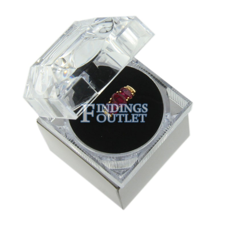 Clear Acrylic Crystal Ring Box Display Jewelry Gift Boxes Engagement 1 Dozen