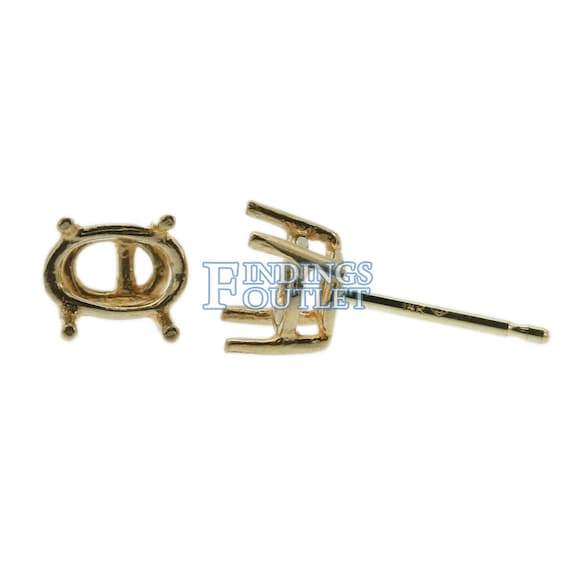 14K Yellow White Gold Round CZ Birthstone Stud Earrings Prong Set Push Back .