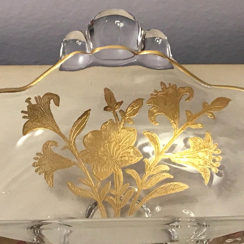 Duncan Miller CANTERBURY Bowl GOLD OVERLAY Divided Dish with Lily Etch