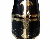 Medieval Crusader Helmet Templar Knight Helmet Black Finish Brass Design Liner