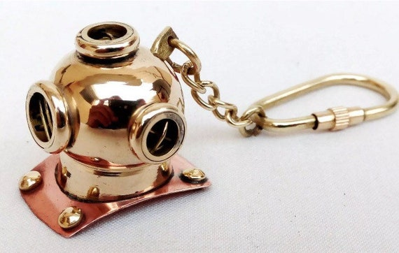 Brass Diver Helmet Keychain Nautical Maritime Yatching Diving Keyring Gift NEW