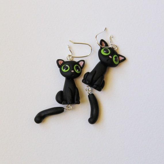 Cute Black Cat Dangle Polymer Clay Earrings Nickel Free Etsy