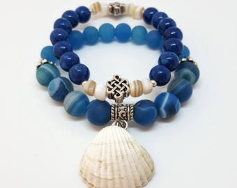 Set of 2 stretch beaded bracelets for women. Marble Jade and Agate gemstones with mother of pearl beads and sea shell. Boho Yoga Bracelet