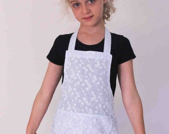 Little Girl's one-of-a kind Apron - 'Ice Blue Frilly'