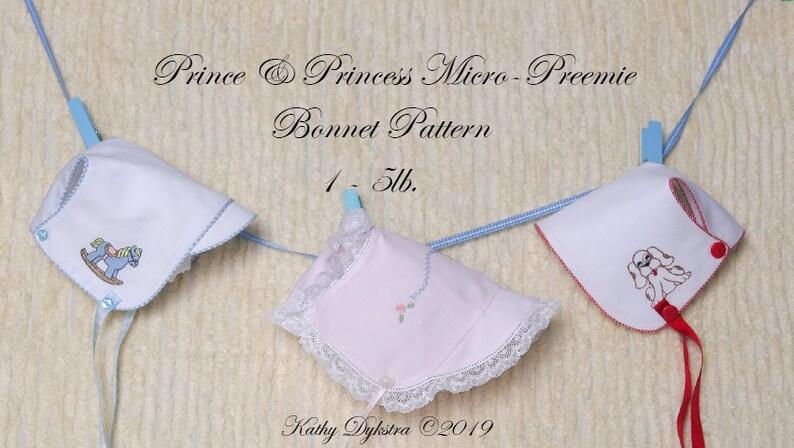Micro-Preemie Prince/Princess Bonnet PDF Pattern 1  4 lbs. image 0