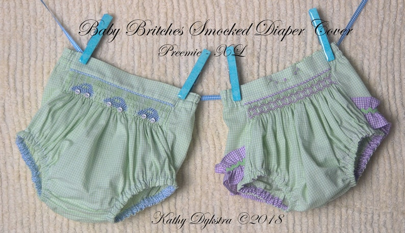 Baby Britches Smocked Unisex Diaper Cover Pattern  doll sizes image 0