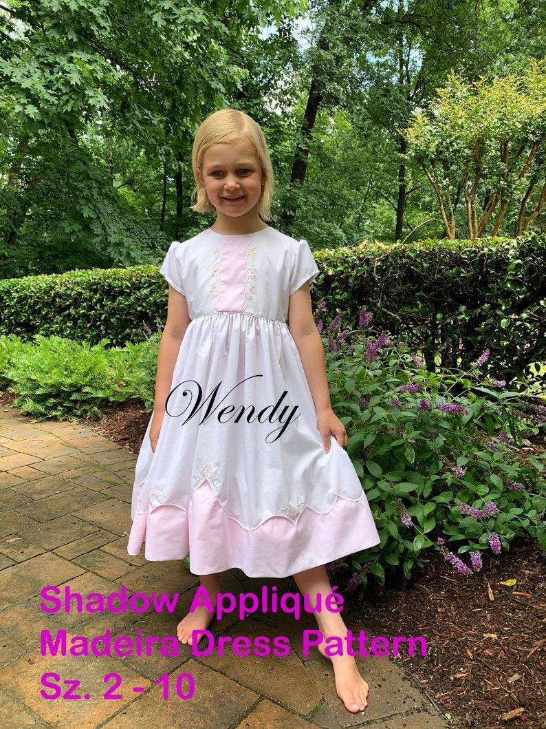 Wendy  Shadow Appliqué Madeira Dress PDF Pattern sz. 2  10 image 0