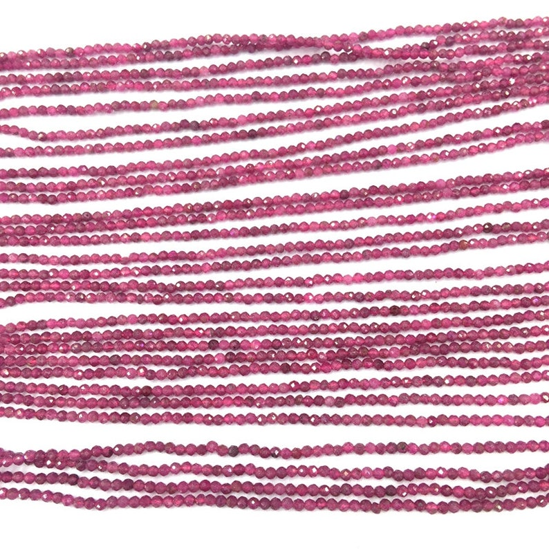 Natural Red Ruby Micro Faceted Beads 2 3mm Tiny Genuine Ruby Round Beads AB quality Semi Precious Gemstone Small Ruby Loose Beads 16 inches